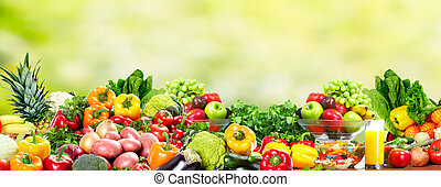Fruits and vegetables. - Fresh Fruits and vegetables. Health...