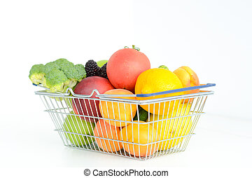 Fresh fruits and vegetables in shopping cart or basket isolated on white background