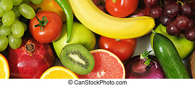 fresh fruits and vegetables isolated on a white
