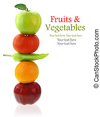 Fresh fruits and vegetables isolated on white