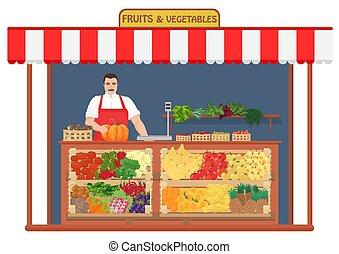 Fresh fruits and vegetables Shop. Fruit Seller concept vector illustration.