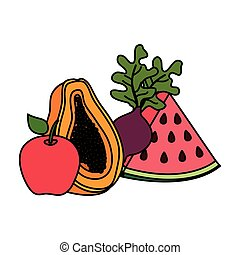 fresh fruits and vegetables vector illustration design