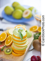Fresh fruits. Assorted fruits colorful background.