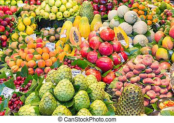 Fresh fruits at a market of Barcelona