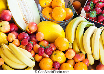 fresh fruits at table