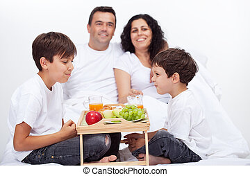 Fresh fruits breakfast for family with kids