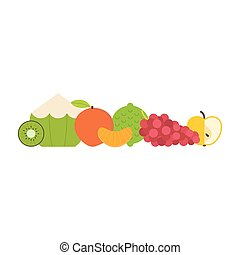 Fresh Fruits - Collection of juicy fresh healthy fruits made...