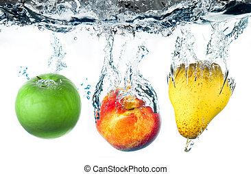 fruits falling in water