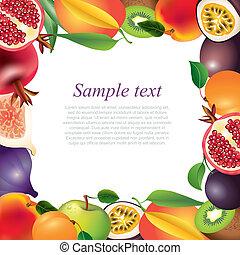 Fresh fruits frame background - Fresh fruits closeup frame...