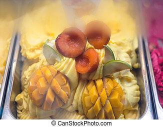 Fresh fruits ice cream