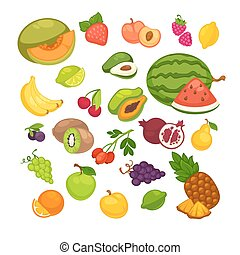 Fresh fruits icons set. Collection of vector sweet vegetarian food illustration