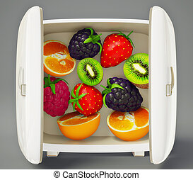 fruits - fresh fruits in a refrigerator on a gray background