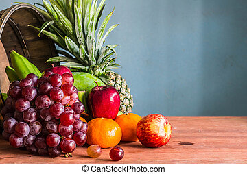 fruits in basket on a wooden