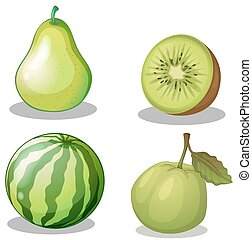 Fresh fruits in green illustration