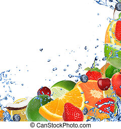 Fresh fruits in water splash, isola