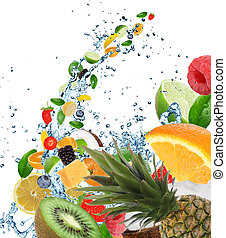 Fresh fruits in water