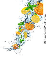 Fresh fruits in water splash on white background