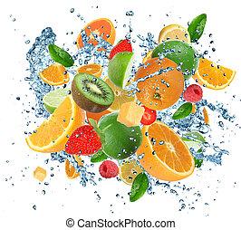 Fresh fruits in water splash