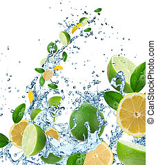 Fresh fruits in water splash