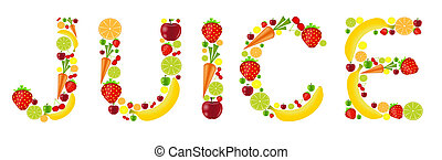 fresh fruits juice word vector illustration