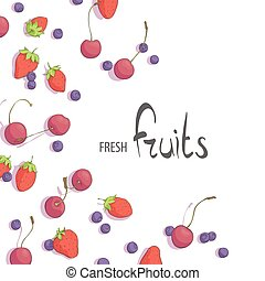 Fresh fruits - juicy summer berries on a white background