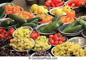 Fresh fruits on a market stall