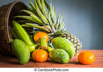 Fresh fruits on a wooden