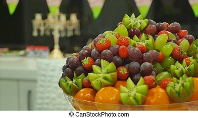 fresh fruits on table celebrating
