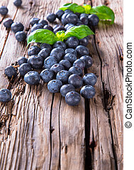 Fresh fruits on wood - Fresh blueberry on wooden table....