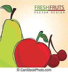 fresh fruits over cream background vector illustration