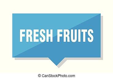 fresh fruits price tag - fresh fruits blue square price tag
