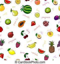 Fresh fruits seamless pattern with pear watermelon kiwi and...