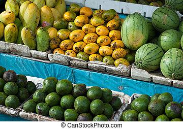 fresh fruits selling at market