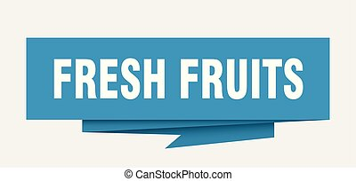 fresh fruits sign. fresh fruits paper origami speech bubble....