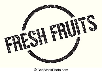 fresh fruits stamp - fresh fruits black round stamp