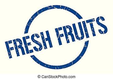 fresh fruits stamp - fresh fruits blue round stamp