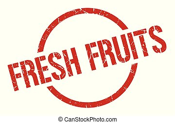 fresh fruits stamp - fresh fruits red round stamp