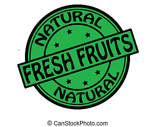 Fresh fruits - Stamp with text fresh fruits inside, vector...
