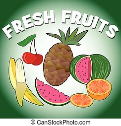 Fresh fruits. Tropical and summer juicy fruits - melon, pineapple, banana, cherry and orange, fruit pictures on green gradient background, healthy diet and summer refreshment