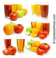 Fresh fruits vegetables and juice in glass isolated