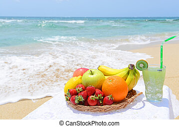 Fresh fruits with glass of juice
