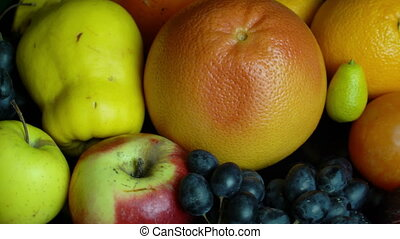 Fresh fruits.Mixed fruits background.Healthy eating, dieting, love fruits. Loopable