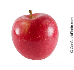 a close-up on a fresh fuji apple.