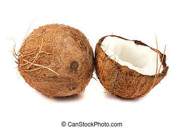Fresh full and half of coconut