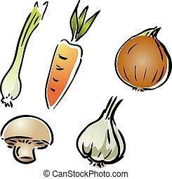 Fresh garden vegetables illustration rough hand-drawn sketch...