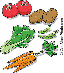 Fresh Garden Vegetables - Vector Illustration of fresh...
