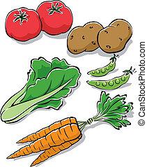 Fresh Garden Vegetables - Vector Illustration of fresh...
