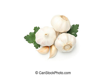 Fresh garlic bulbs and parsley isolated on white background, top view