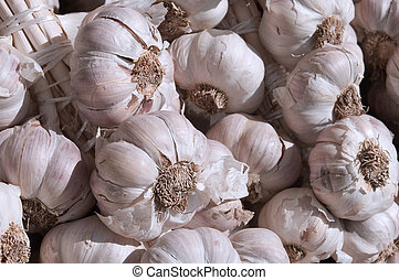 Fresh garlic - Close-up of cloves of fresh garlic. Shallow ...