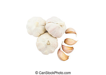 Fresh garlic. - Fresh garlic on white background. Top view.